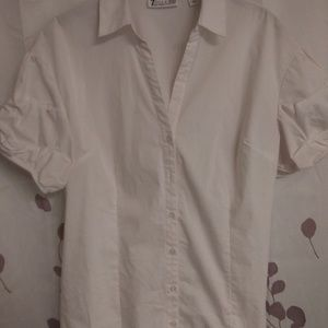 New York & Company white cabbage sleeve blouse